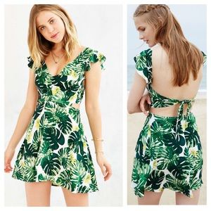 NWT For Love & Lemons Tropical Palm Print Dress